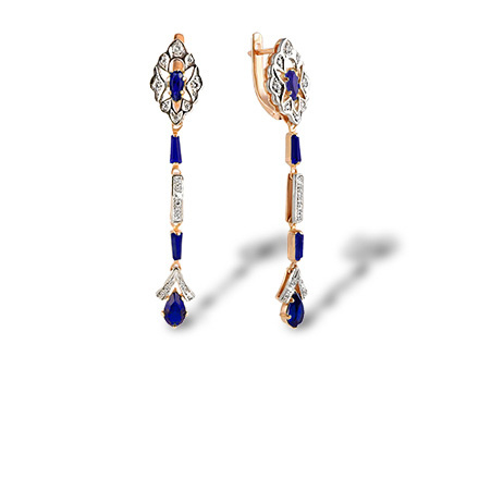 Faux Sapphire and CZ Dangle Earrings. Rose and Palladium White Gold