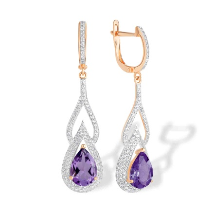 Teardrop Amethyst and CZ Earrings. 'Empress' Series, 585 (14K) Rose Gold
