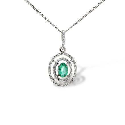 Cosmos-inspired Pendant. Emerald and 63 Diamonds