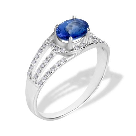 Sapphire Diamond Triple Shank Ring. Hypoallergenic 585 (14K) White Gold