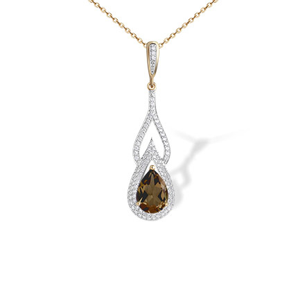 Gemstone rose gold pendants teardrop rauh topaz pendant golden teardrop rauh topaz and cz pendant 585 rose gold empress series aloadofball Choice Image