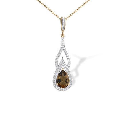 Gemstone rose gold pendants teardrop rauh topaz pendant golden teardrop rauh topaz and cz pendant 585 rose gold empress series mozeypictures Gallery