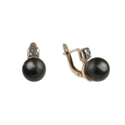 Black Pearl Diamond Leverback Earrings