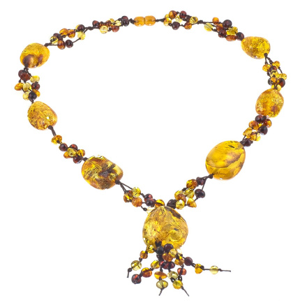 Sunny Amber Knitted Dangle Necklace