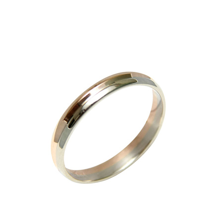 Two Tone Gold Wedding Ring. A Comfortable Fit