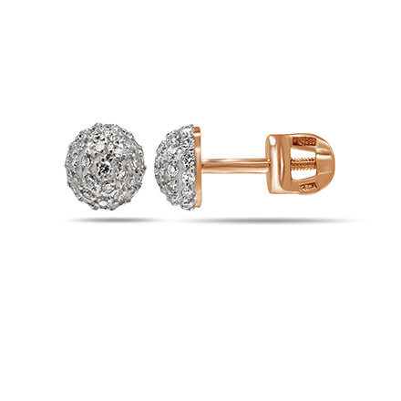 Diamond Dome Stud Earrings. 585 (14kt) Rose Gold
