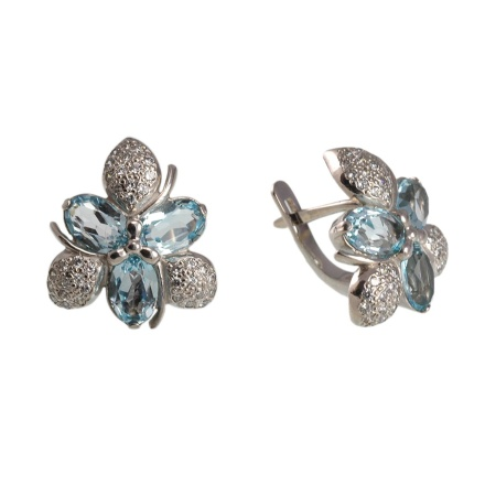 Floral Motif Blue Topaz and CZ Earrings. 585 (14kt) White Gold