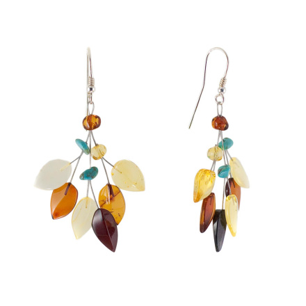 Silver amber and turquoise earrings
