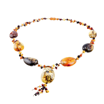 Knitted Dangle Amber Necklace