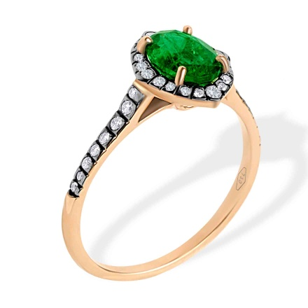 Art Deco Style Emerald and Diamond Ring. 750 Rose Gold, KARATOFF Series