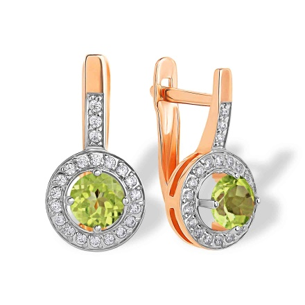 Peridot with CZ Halo Leverback Earrings. 'Empress' Series, 585 (14kt) Rose Gold