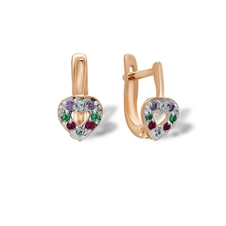 Multicolored CZ Leverback Earrings