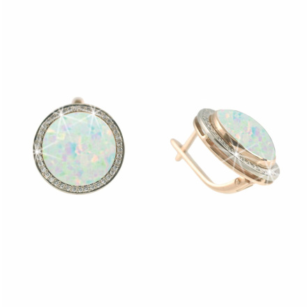 Opal & CZ Halo Earrings