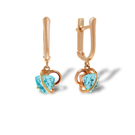 Trillion-shaped Blue Topaz Earrings. 585 (14K) Rose Gold