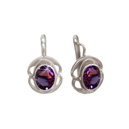 Colored Swarovski CZ Silver Earrings: An Amethyst