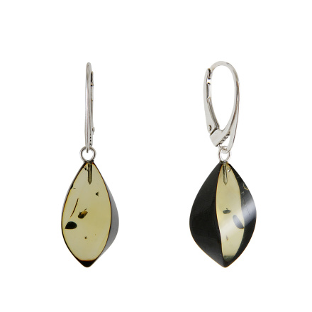 Green Amber Contemporary Earrings