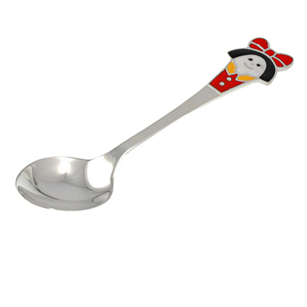 Silver Baby Spoon. An Enamel Girl in Red