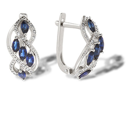 Sapphire white gold earrings