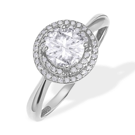 Colorless Topaz in Diamond Double Halo Ring. 585 (14kt) White Gold