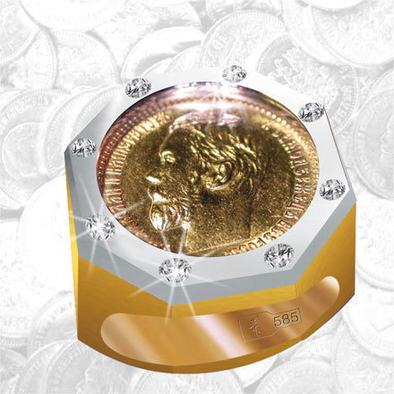 Nut Design Gold Coin Signet