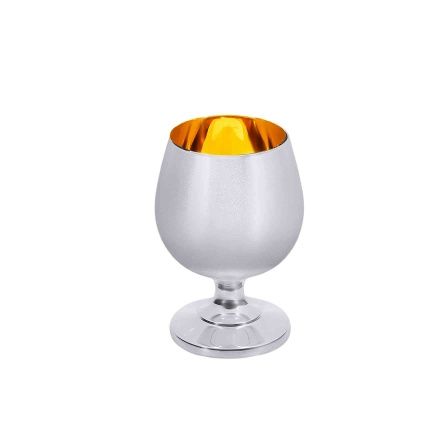Silver Cognac Snifter with Polished Gilt Inner. Hypoallergenic Antibacterial 925 Silver