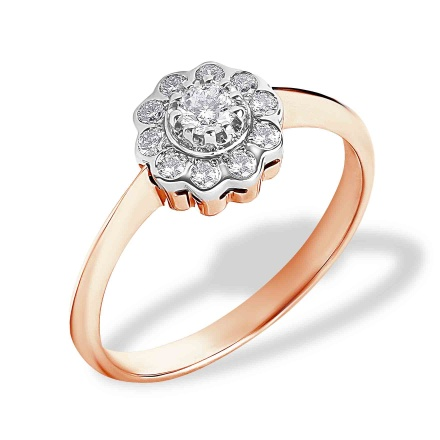 Raspberry Motif Diamond Engagement Ring. 585 (14kt) Rose and White Gold