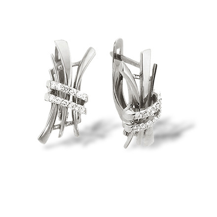 Stylized Hieroglyph 'Love' Earrings. Diamond White Gold Earrings