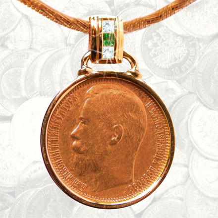 15 ruble gold coin pendant