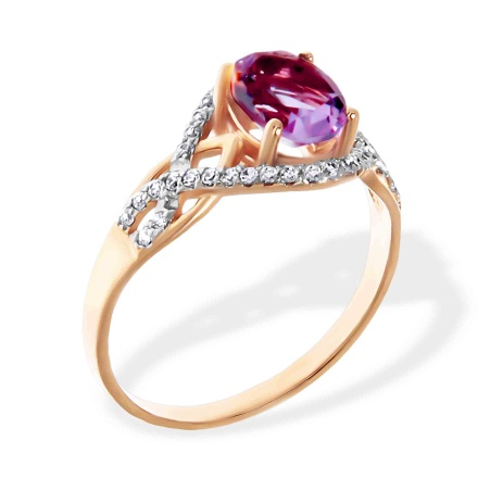 Oval Amethyst and CZ Ring. 585 (14kt) Rose Gold, Rhodium Detailing