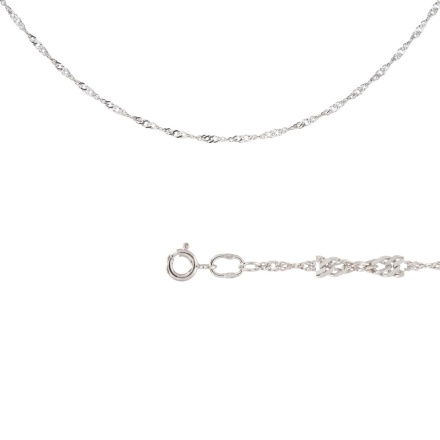 Singapore-link Chain (0.35 mm Gold Wires). Diamond Cut Solid White Gold