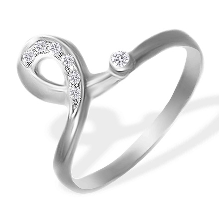 CZ Ring. 585 (14kt) White Gold