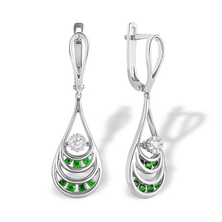 Emerald and Diamond Dangle Earrings. Hypoallergenic 585 (14K) White Gold