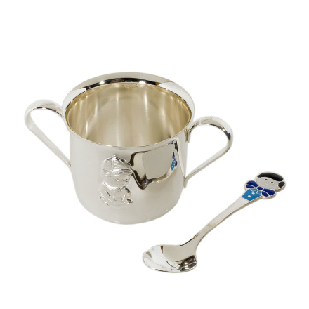 Twin handled tankard and silver spoon Boy