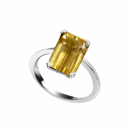 Metaphysical Citrine Ring. Hypoallergenic 585 (14K) White Gold