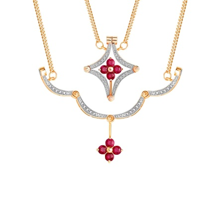 Ruby and Diamond Convertible Necklace. 585 (14K) Rose Gold