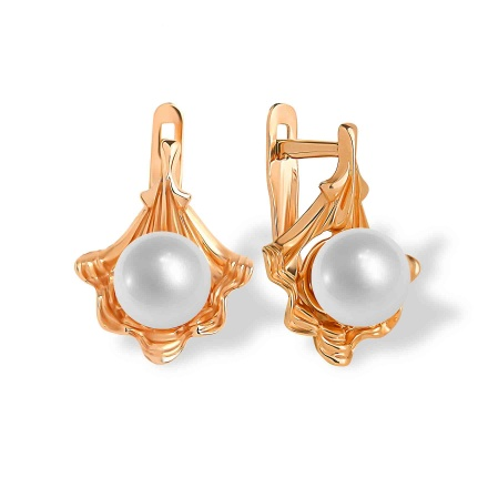 Pearl Shell Earrings. 585 (14K) Rose Gold