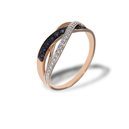 Diamond and Sapphire Crisscross Ring