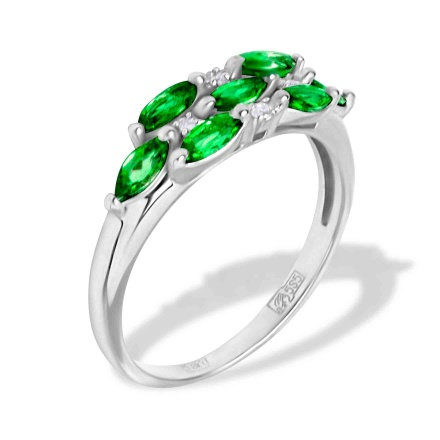 Magnificent Emerald and Diamond Ring. 585 (14K) Hypoallergenic White Gold