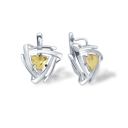 Trillion-Shaped Citrine Silver Earrings