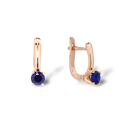 Kids Rose Gold Earrings. Hypoallergenic 585 Gold, Sapphire-like CZ