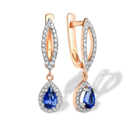 Teardrop Sapphire and Diamond Earrings. 585 (14K) Hypoallergenic Rose Gold