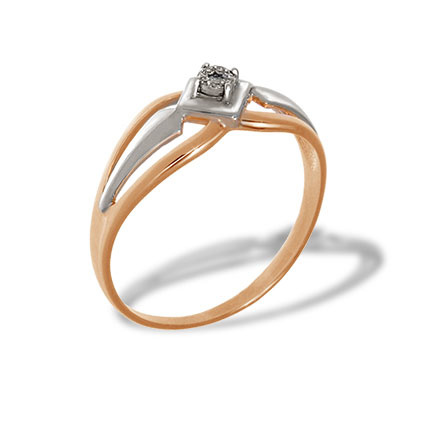 Illusion Set Diamond Ring. Hypoallergenic 585 Rose and White Gold