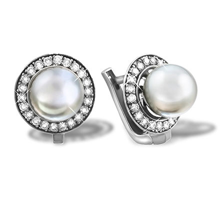 Saltwater Pearl Diamond Halo Earrings