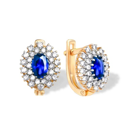 Oval Faux Sapphire and Diamond Earrings. 585 (14K) Hypoallergenic Rose Gold