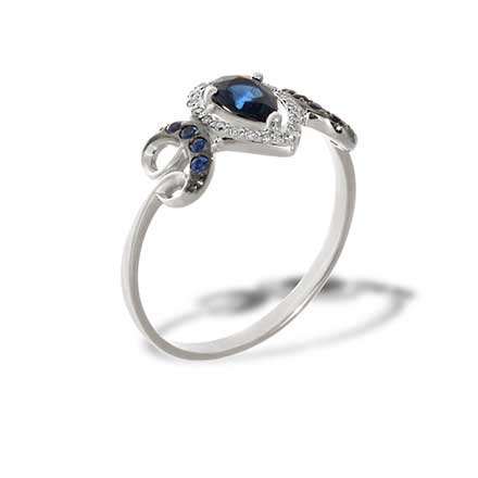 A Decadent Era-inspired Sapphire Ring. 585 White Gold