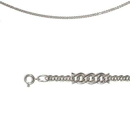 Nonna-link Chain (0.6 mm Silver Solid Wires). Diamond Cut Technique, Rhodium Plating