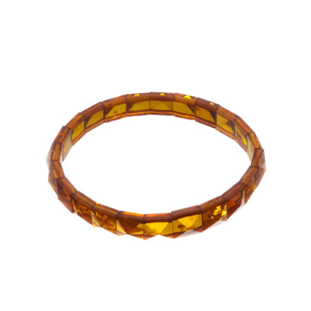 Faceted Amber Stretch Bracelet
