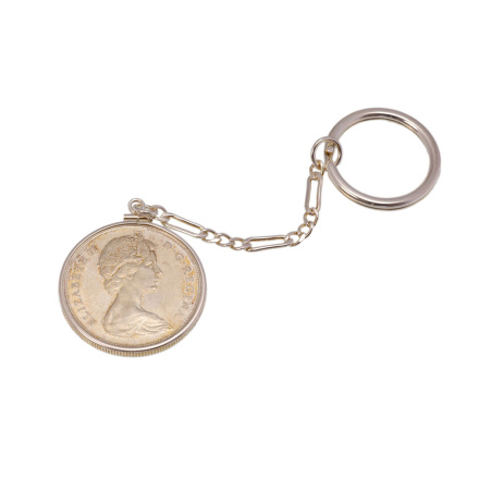 Key chain with Canadian silver coin