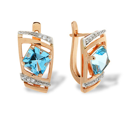 Luxury Classic Leverback Earrings. Quadrilateral-cut Blue Topaz and CZ