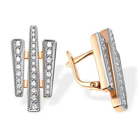CZ Geometric Leverback Earrings. 585 (14kt) Rose and White Gold